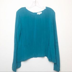 Cloth & Stone Teal Peplum Button Down Back Blouse
